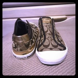 Gold, brown and tan Coach slip on sneakers